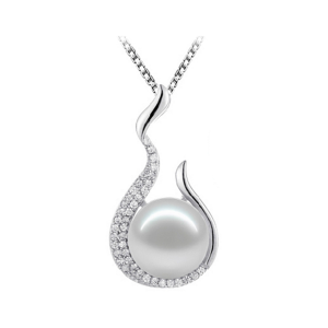 elegant sterling silver pearl pendant necklace