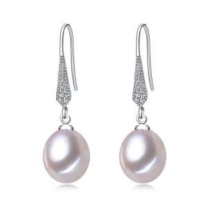 white pearl drop earrings with cubic zirconia micro pave setting jewelry