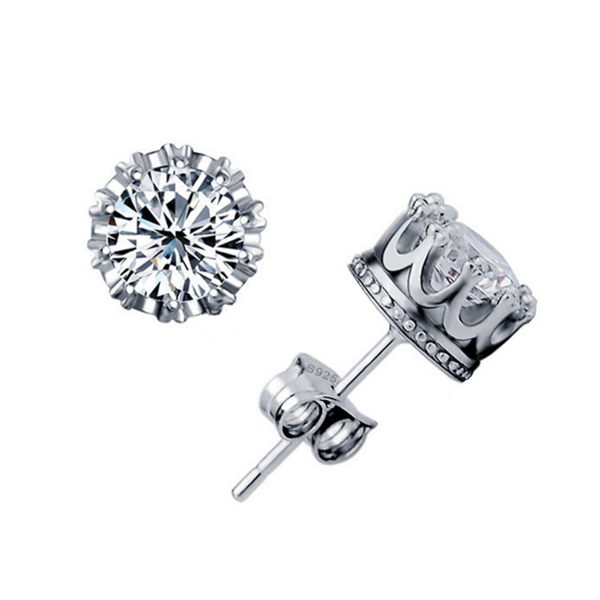 cubic zirconia sterling silver stud earrings crown