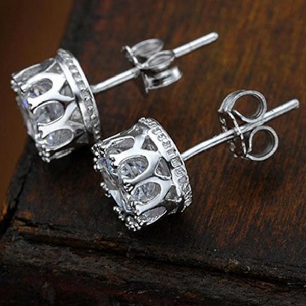 cubic zirconia sterling silver stud earrings crown stud earrings - 14B - Stud Earrings