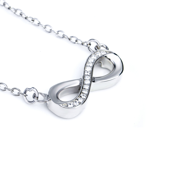 infinity sterling silver necklace cubic zirconia