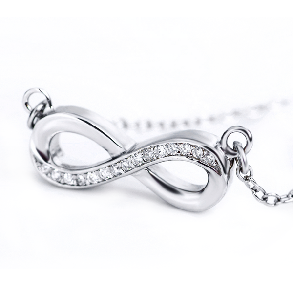 infinity sterling silver necklace zirconia