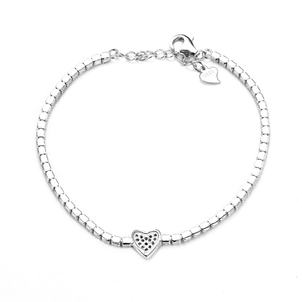 silver heart bracelet with zirconia - cz heart bracelet