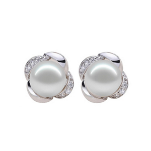white pearls with cz micro pave setting in sterling silver