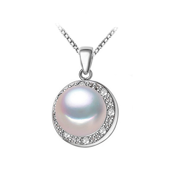 white pearl necklace with cubic zirconia micro pave setting