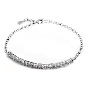 silver cubic zirconia micro pave setting bracelet - cz micro pave setting bracelet