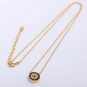 evil eye yellow gold necklace with zirconia in sterling silver online jewellery shop - 3A 1 300x300 - The best online jewellery shop
