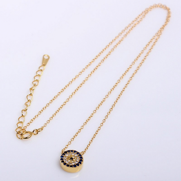 evil eye yellow gold necklace with zirconia in sterling silver