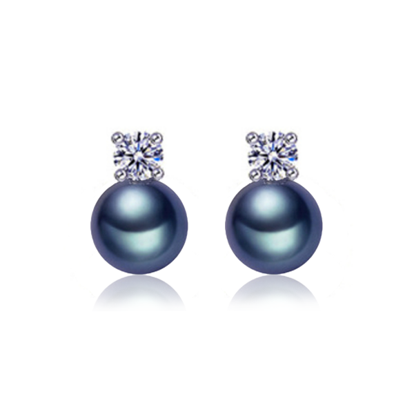 black pearl earrings with zircon