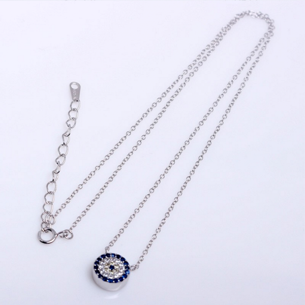 evil eye platinum plated necklace with zirconia in sterling silver