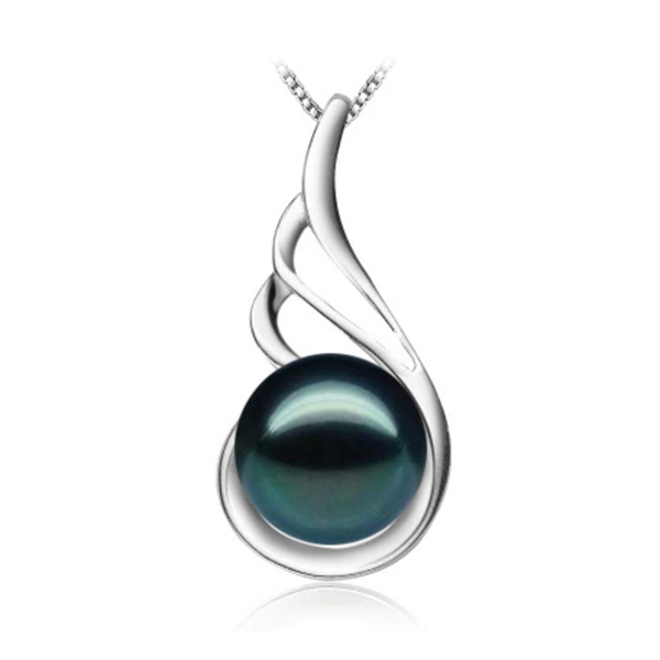 sterling silver black pearl necklace