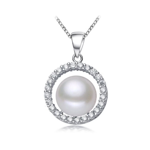 rounded sterling silver white pearl necklace with cz