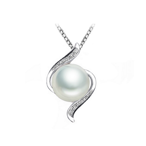 White pearl cubic zirconia necklace sterling silver