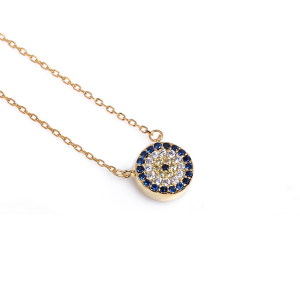 evil eye cubic zirconia gold pendant necklace, evil eye cz gold pendant necklace