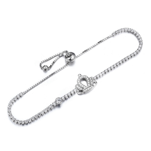 sterling silver crown cubic zirconia bracelet, sterling silver crown cz bracelet