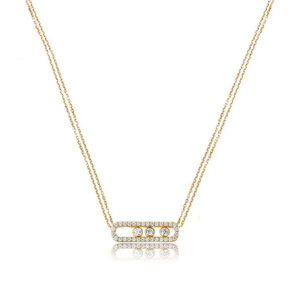 cubic zirconia gold pendant necklace, cz gold pendant necklace