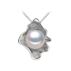 Pearl sterling silver necklace in shell shape