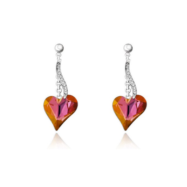 heart earrings with rhinestone gold plated