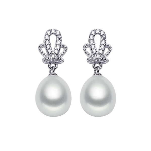 Crown pearl sterling silver earrings with cubic zirconia