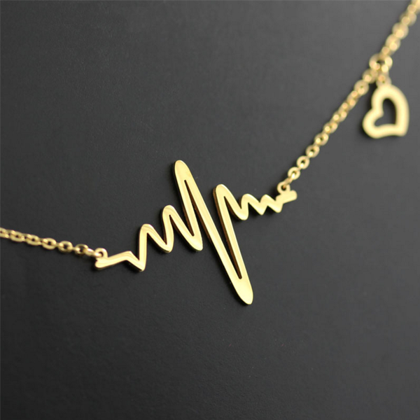 heartbeat gold plated pendant necklace