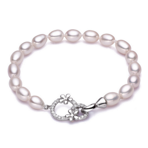 white pearls sterling silver bracelet cubic zirconia