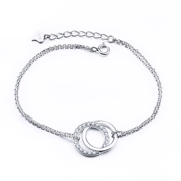 double-ring-silver-bracelet online jewellery shop - double ring silver bracelet - The best online jewellery shop