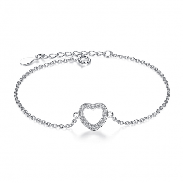 heart-sterling-silver-bracelet bracelet with meaning - Heart sterling silver bracelet 600x600 - Bracelets with Meaning