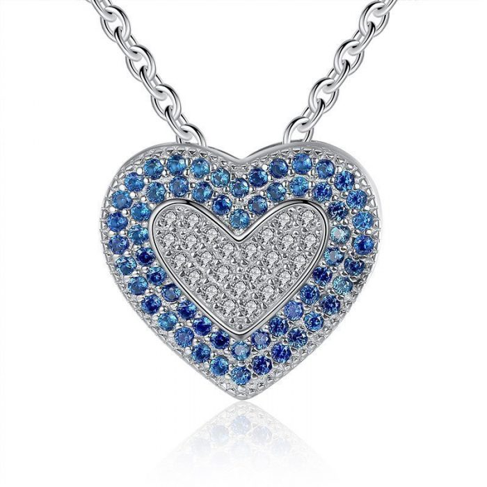 Classic-925-Sterling-Silver-White-Blue-Austrian-font-b-Crystal-b-font-Heart-Pendant-Necklace