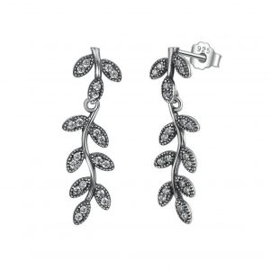 Leaves & Branches Silver Drop Earrings