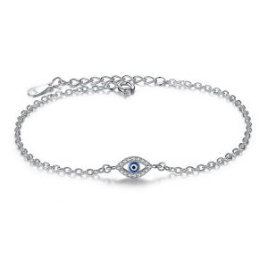 Mini evil eye sterling silver bracelet