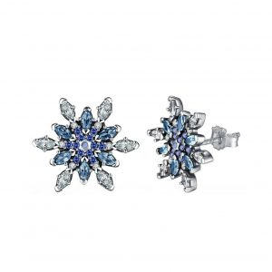 Snowflake silver crystal earrings