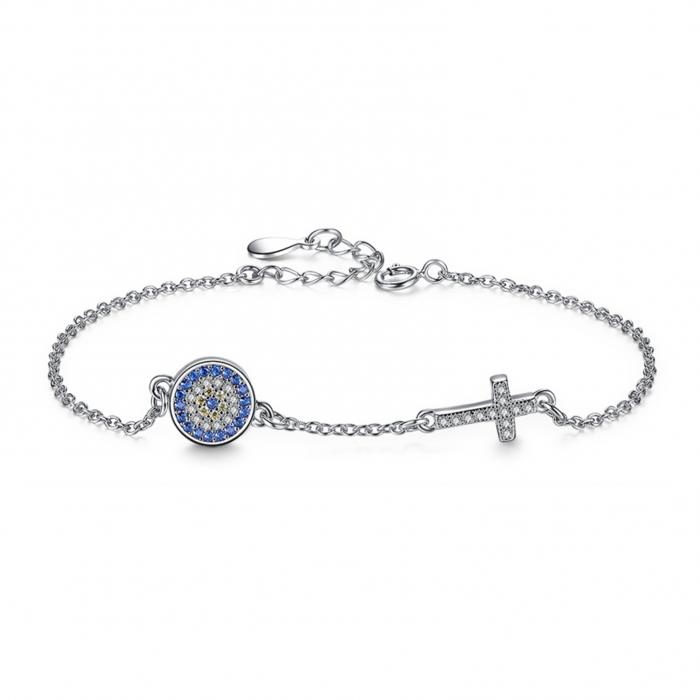 Evil Eye Bracelet with Cross