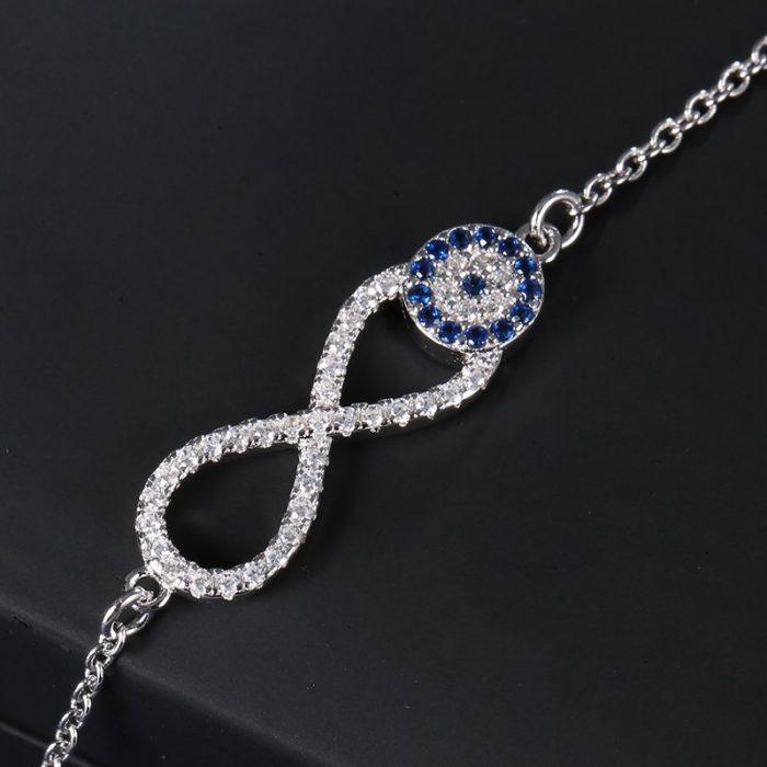 infinity evil eye bracelet sterling silver cubic zirconia 925