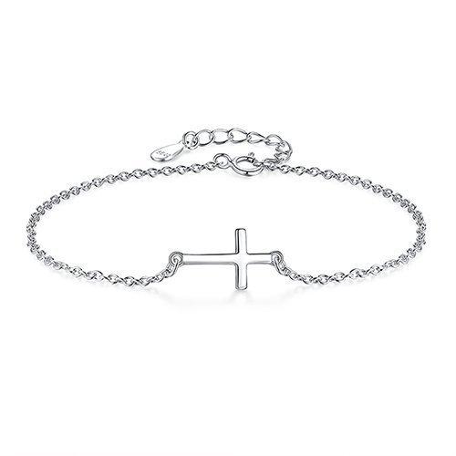 Sterling Silver Cross Bracelet 925 Women