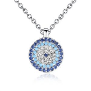 CZ-Crystal-Blue-Evil-Eye-Pendant-925-Sterling-Silver-Necklace-for-Women jewellery shop - CZ Crystal Blue Evil Eye Pendant 925 Sterling Silver Necklace for Women 300x300 - Jewellery, UK Jewellery Shops & Online Jewellery Store | Azurechic