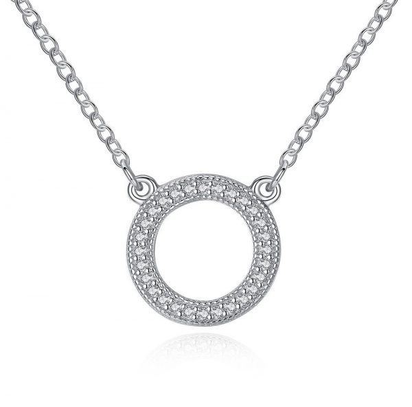 Eternity-Pendant-Sterling-Silver-Necklace-925-Sterling-Silver-Circle-Necklace-Round-Eternity-Necklaces-Paved-CZ-Crystal-Necklace-for-Women