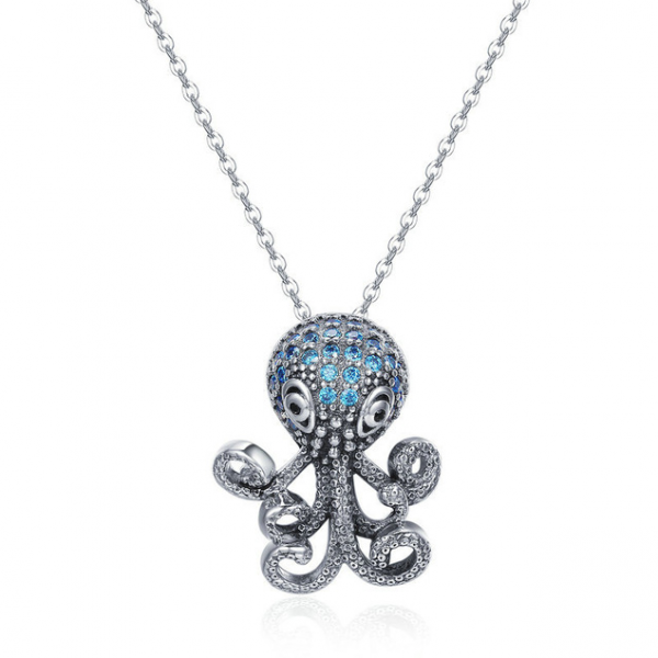 Funky-Octopus-CZ-Pendant-Necklace online jewellery shop - Funky Octopus CZ Pendant Necklace 600x600 - Meaningful Necklace For Her