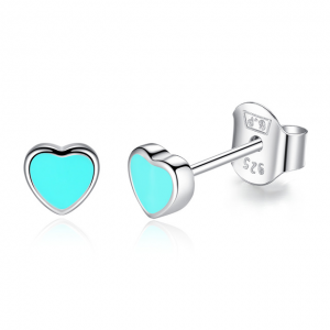 Turquoise Enamel-heart-silver-stud-earrings-jewellery-cyprus