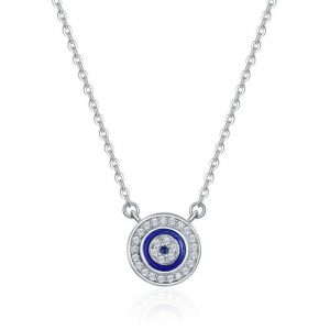 Jewellery-Sterling-Silver-Blue-Evil-Eye-Pendant-Necklace
