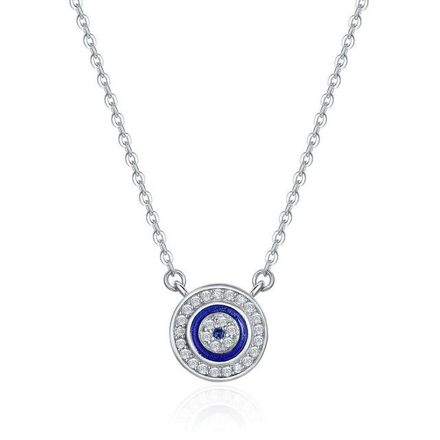 Jewellery-Sterling-Silver-Blue-Evil-Eye-Pendant-Necklace