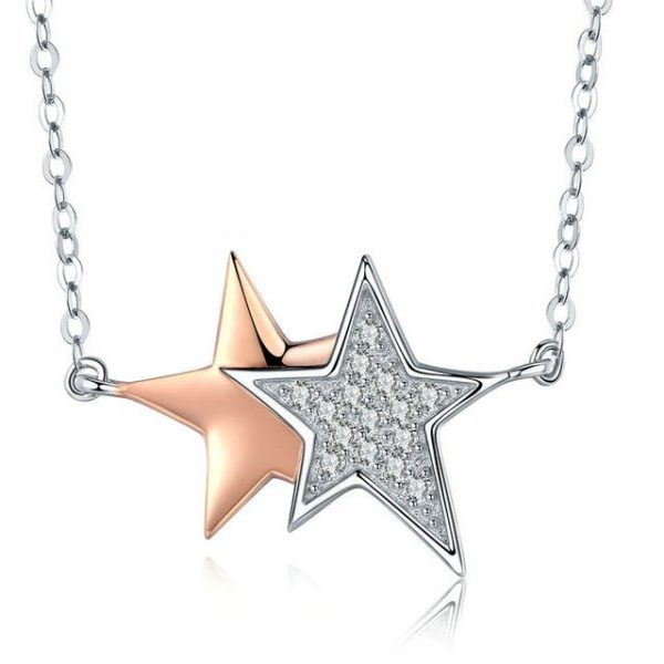 online jewellery shop - Double star necklace with zirconia 600x600 - Meaningful Necklace For Her