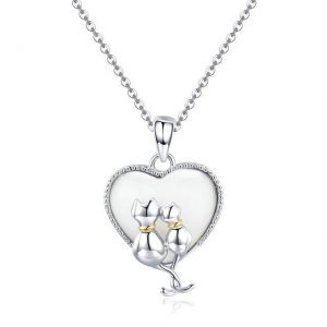 Cats inside Heart Necklace promise necklace for girlfriend - Cats Heart Necklace Jewellery 300x300 - Promise Pendants