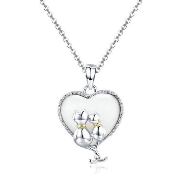 Cats inside Heart Necklace
