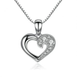 Heart Necklace promise necklace for girlfriend - Heart Necklace sterling silver 300x300 - Promise Pendants