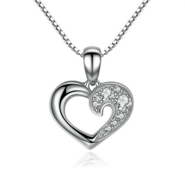 Heart Necklace promise necklace for girlfriend - Heart Necklace sterling silver 600x600 - Promise Pendants