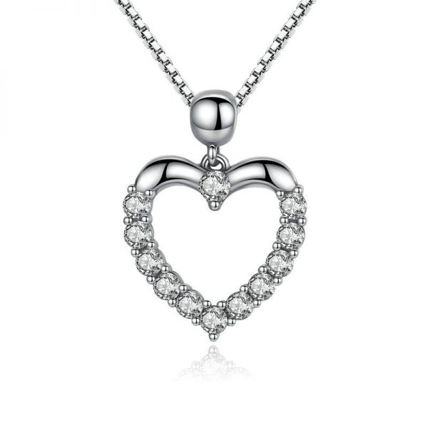 promise necklace for girlfriend - Heart Necklace with Cubic Zirconia 600x600 - Promise Pendants