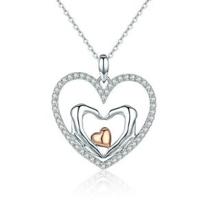 Heart Necklace. Online Jewellery Shopping promise necklace for girlfriend - Heart to Heart Cubic Zirconia Necklace 300x300 - Promise Pendants