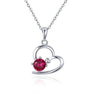 Heart Necklace promise necklace for girlfriend - Heart with Red Crystal Necklace 300x300 - Promise Pendants
