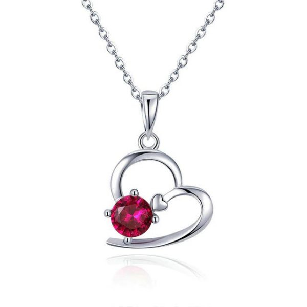 Heart Necklace promise necklace for girlfriend - Heart with Red Crystal Necklace 600x600 - Promise Pendants