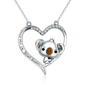 Online Jewellery Shopping promise necklace for girlfriend - Koala inside Heart Necklace 300x300 - Promise Pendants